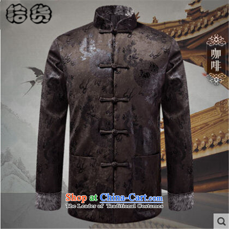 Pick the 2015 autumn and winter new father replacing men Tang jacket in older long-sleeved jacket China wind spell retro-color father boxed Tang Jacket coat coffee XL