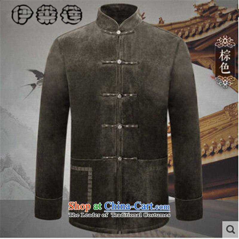 Hirlet Ephraim聽2015 Fall/Winter Collections Tang jacket men of older people in long-sleeved jacket pocket pure color is detained father replace national minimalist retro shirt聽XXXL, brown coat, Ephraim ILELIN () , , , shopping on the Internet