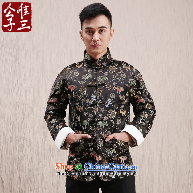 Cd 3 model unicorn auspicious China wind silk gowns leisure Tang Dynasty Chinese men and national costumes autumn and winter coats聽185_100A_XXL_ black