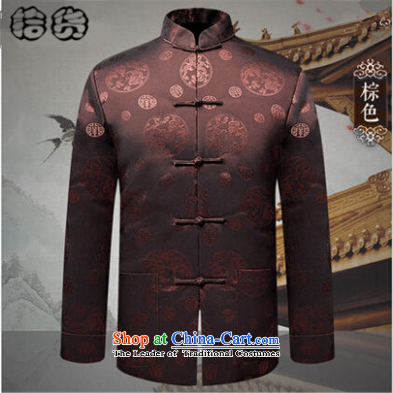 The 2015 autumn and winter pick the new and old age are large grandfather men loaded men long-sleeved jacket coat grandfather Tang replacing birthdays wedding dress Tang dynasty dark red聽175, Volume (shihuo pickup) , , , shopping on the Internet