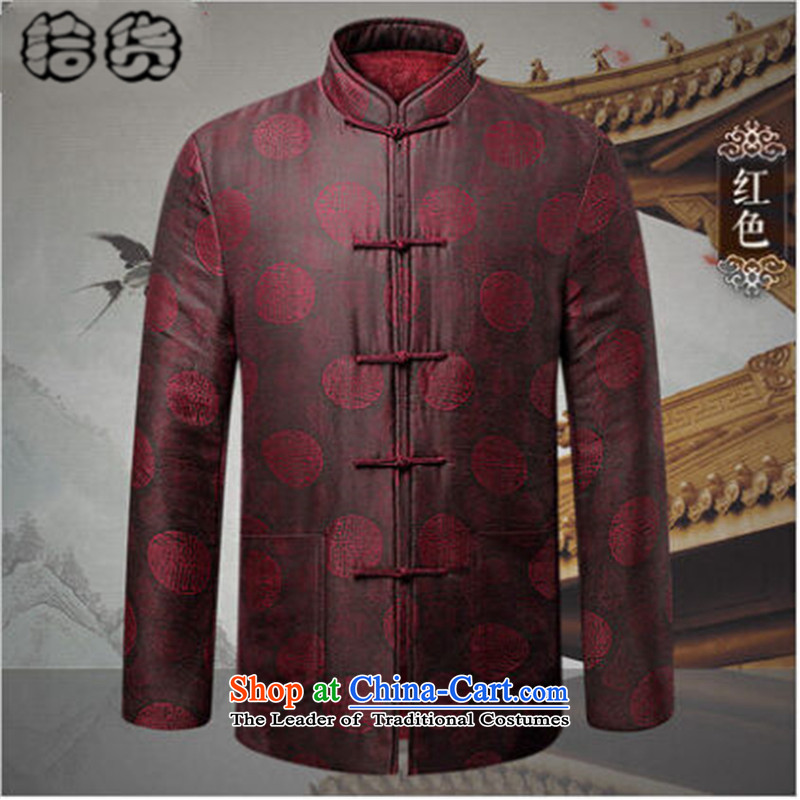 Pick the 2015 autumn and winter of older persons in the new Tang Jacket coat male l ?t��a Chinese antique grandfather replacing Tang jackets Red?185