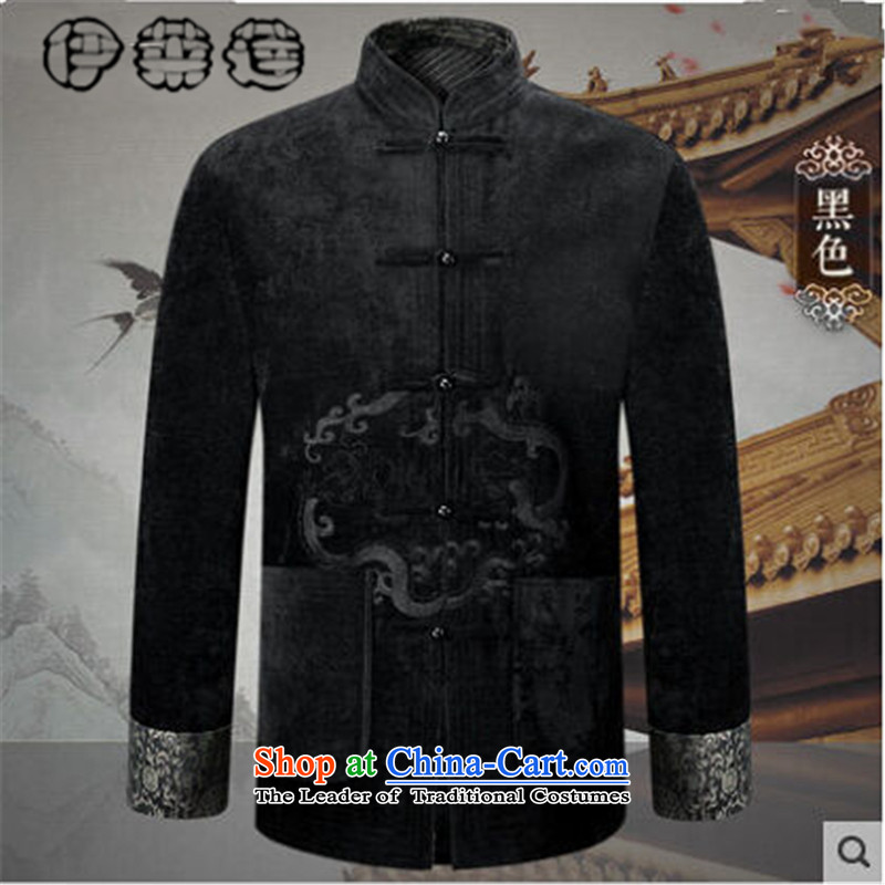 Hirlet Ephraim?autumn 2015 replacing older persons long-sleeved jacket Chinese Tang dynasty men detained dad disk jacket retro fitted shirt black jacket embroidered totem?M