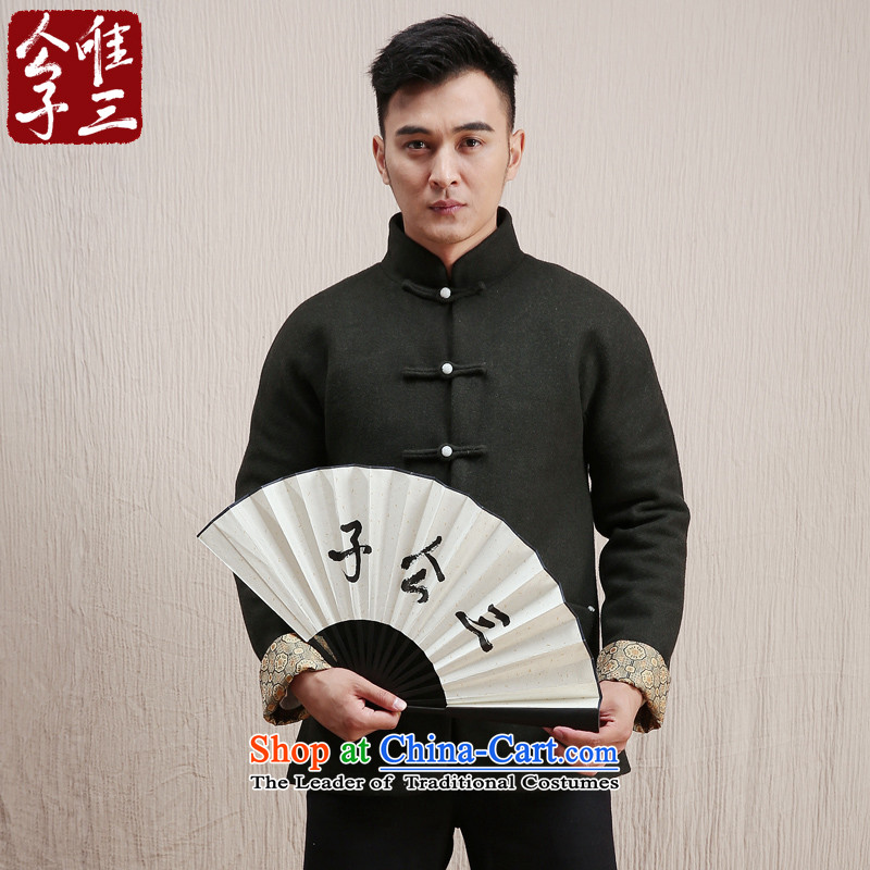Cd 3 model 5, China wind-yuk gross? Tang Jacket coat male Chinese national jacket coat? autumn and winter?180/96A(XL) Olive Green