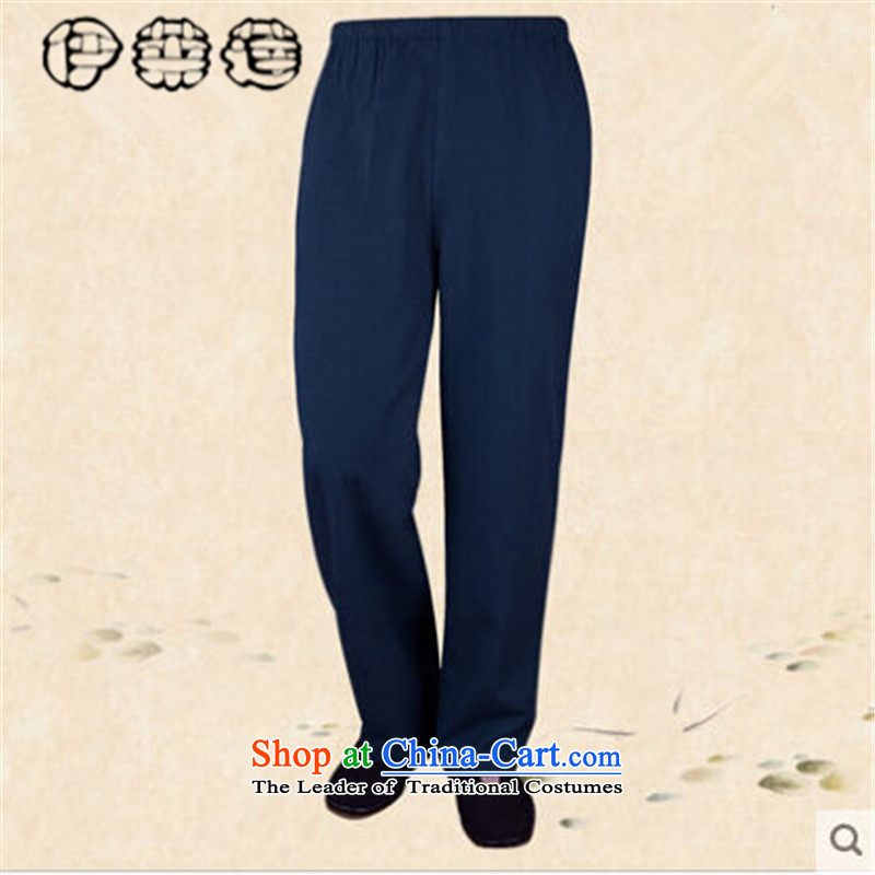 Hirlet Ephraim聽in autumn 2015, older casual pants muslin old men China Wind Pants elastic waist short pants and blue trousers and leisure聽185