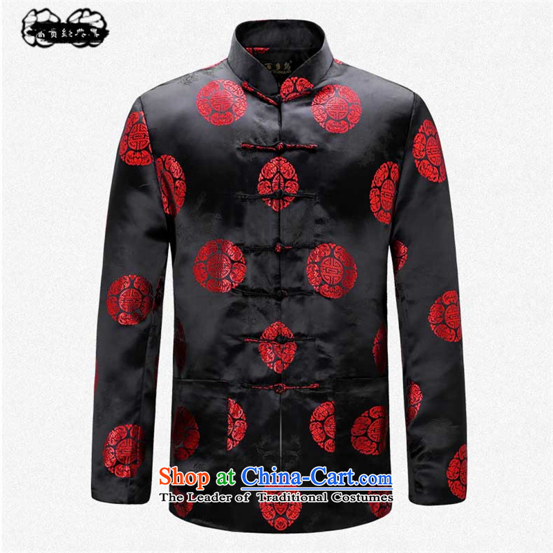 Pick the 2015 autumn and winter older women and men in the new taxi couples Tang long-sleeved blouses birthday birthday of the stamp of the elderly Chinese high-end classic black jacket men?M