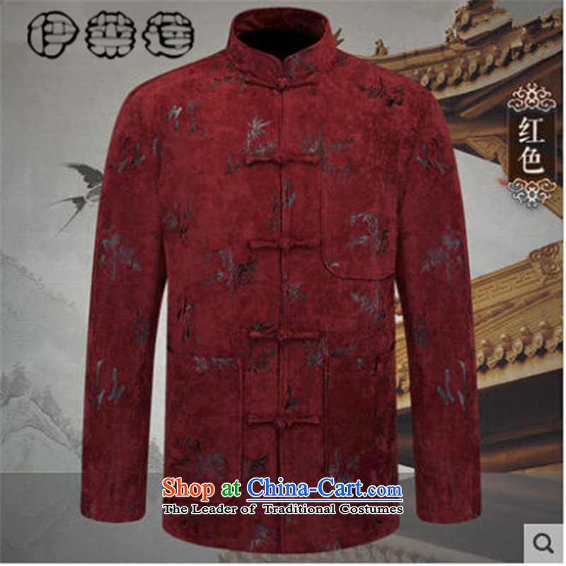 Hirlet Ephraim?2015 autumn and winter, men's Chinese elderly men Tang dynasty long-sleeved jacket jacket retro-clip father blouses embroidery jacket red?L