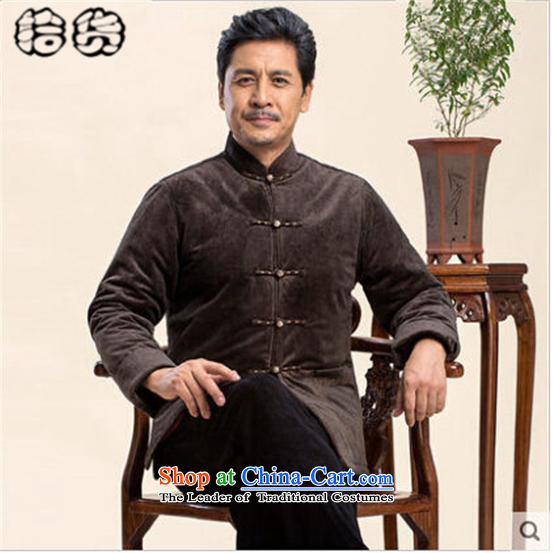 The 2015 autumn and winter pick the new elderly men's large Chinese Tang jackets men long-sleeved Chinese dress jacket with Father Tang older dress brown?XL