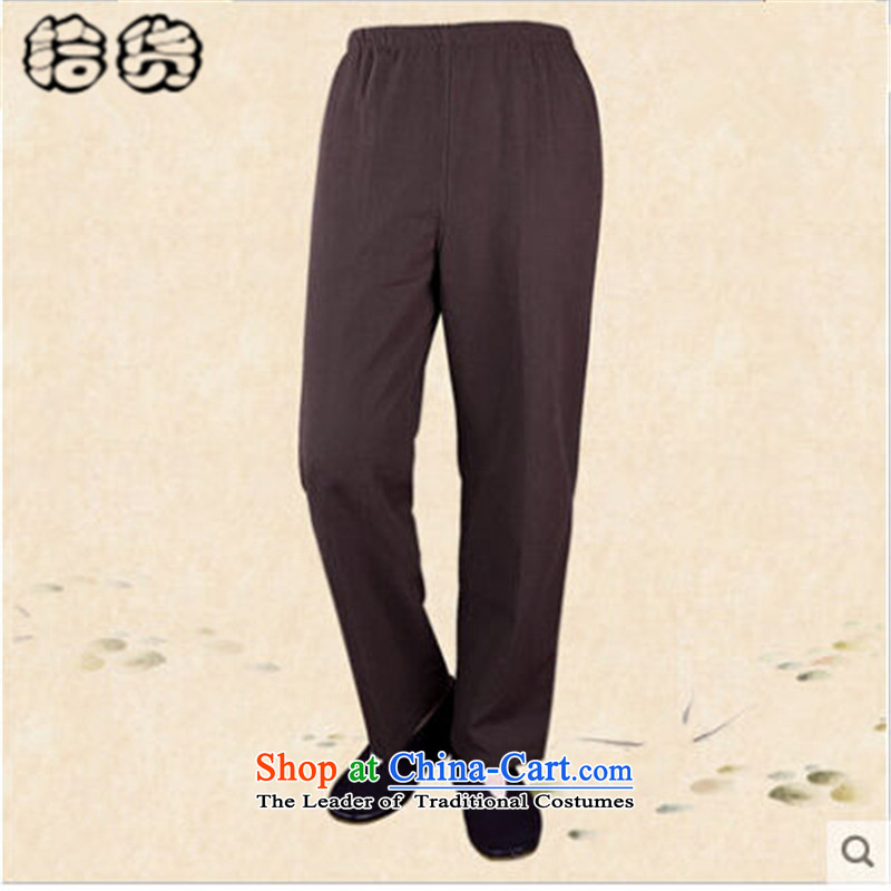 The 2015 autumn and winter pick the new and old age are larger men casual pants retro Chinese old folk weave China wind men Tang pants elastic waist casual pants brown聽170