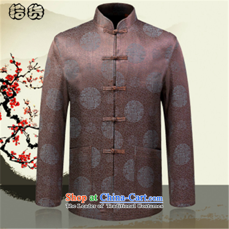 Pick the 2015 autumn and winter New Men Tang Jacket coat Chinese Disc men detained Tang dynasty China wind leisure dad long-sleeved replacing dark Kim聽180