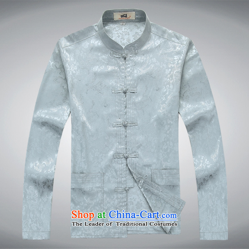 The Tang dynasty Chinese long-sleeved kit silk tie of ethnic elderly disc shirt father replacing gray T-shirt�L