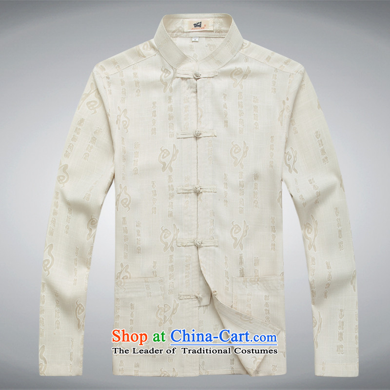 2015 new father replacing home leisure long-sleeved shirt of older persons in the Tang dynasty loose shirt Father's Day Gifts Set of beige?L