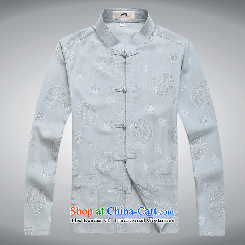 Tang Dynasty Chinese Disc detained linen long-sleeved sweater shirt gray T-shirt聽L