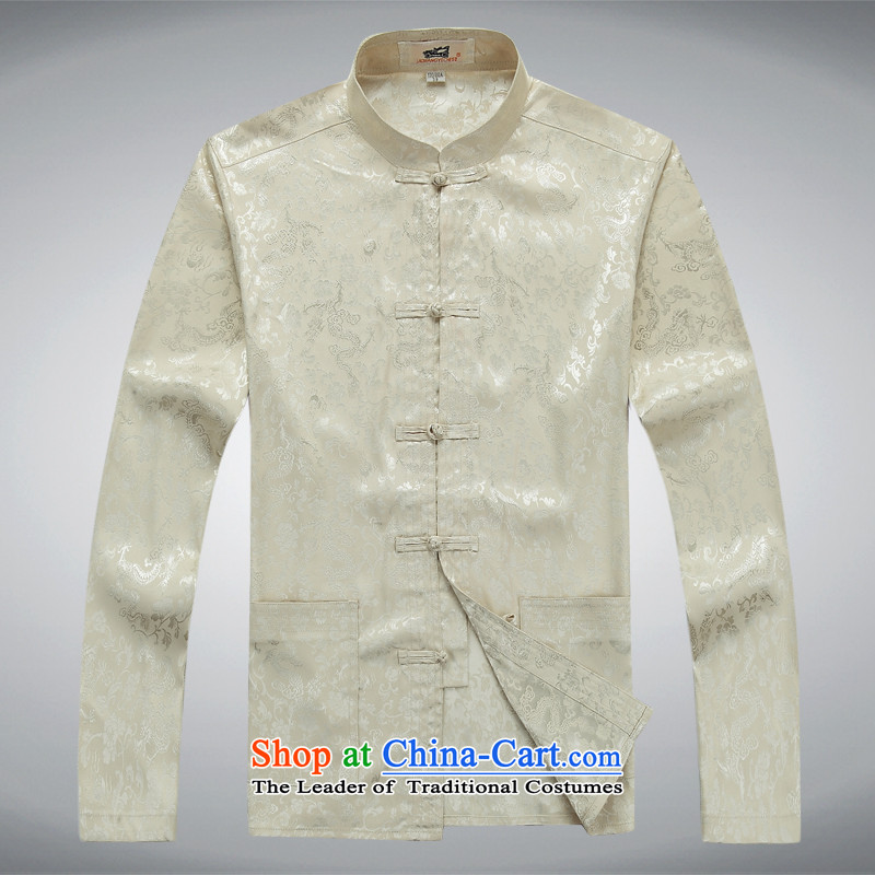 Replace the disk in the autumn Tang long-sleeved detained men Chinese tunic Han-leisure China wind Men's Shirt, beige?XXXL set loose