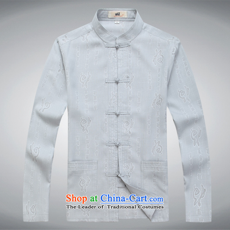 The fall of Tang Dynasty thick cotton linen male Kit Chinese tunic jacket men in older replacing father grandfather boxed Han-white shirt gray T-shirt聽S