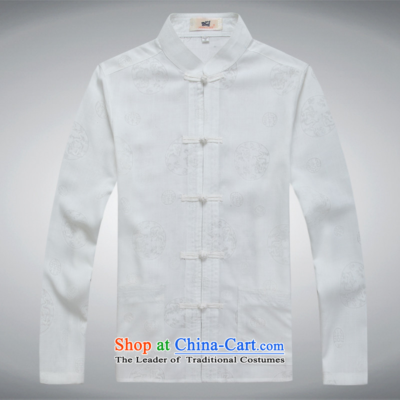 Tang dynasty long-sleeved men detained Chinese tunic Han-rom China wind linen men casual relaxd shirts and white T-shirt?M