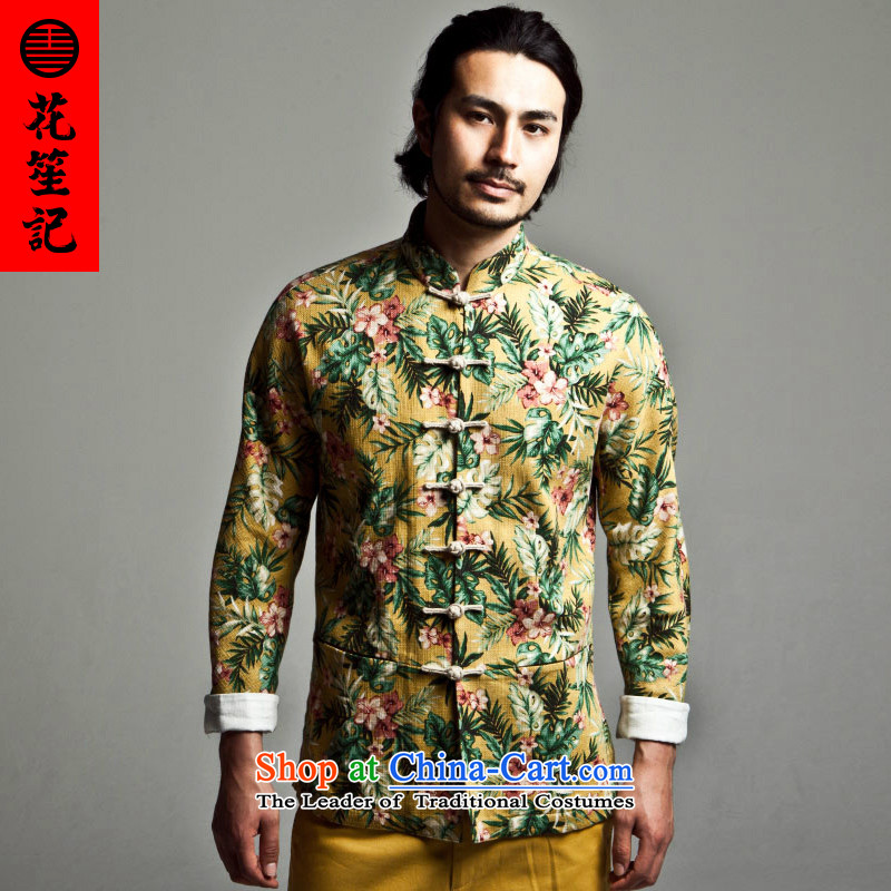 His Excellency spend a note national retro China wind flowers to Tang dynasty Chinese long-sleeved jacket male Sau San stamp disc detained Mock-neck Huanghua聽180_92A