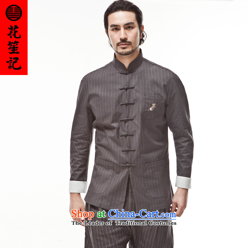 His Excellency spend a note national retro China wind unicorn embroidery streaks Tang Dynasty Men's Mock-Neck long-sleeved old youth in autumn?175_88A Dark Gray