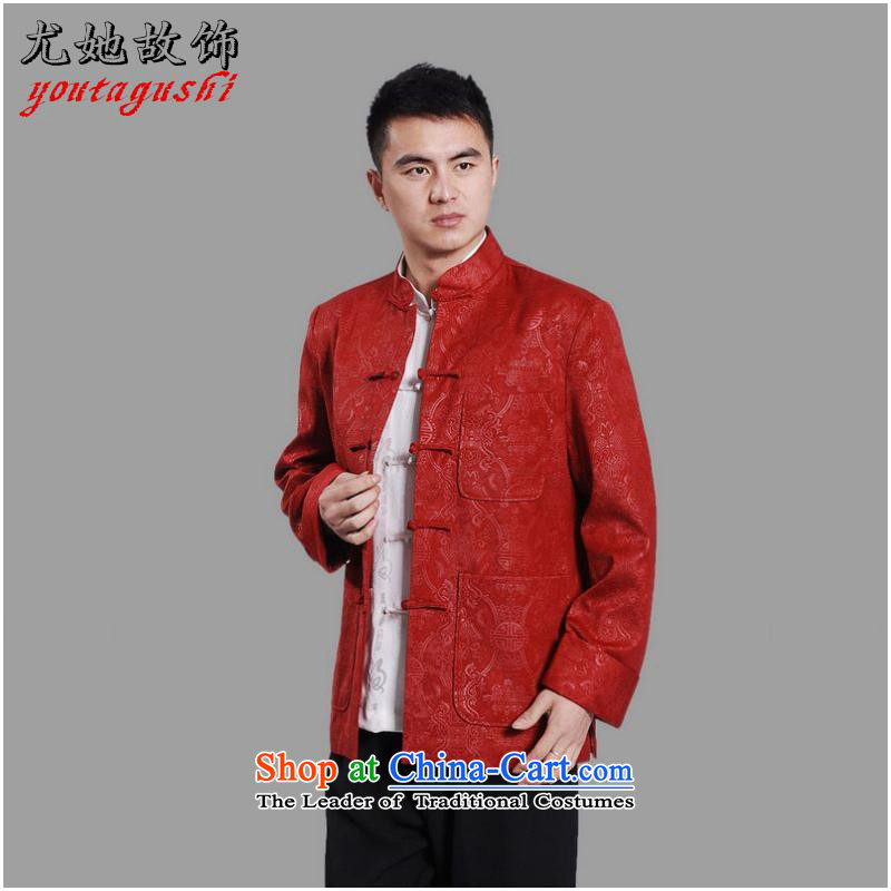 She was particularly Tang dynasty international men's long-sleeved national costumes men Tang jackets collar embroidery Chinese dragon red聽XL, she was particularly international shopping on the Internet has been pressed.
