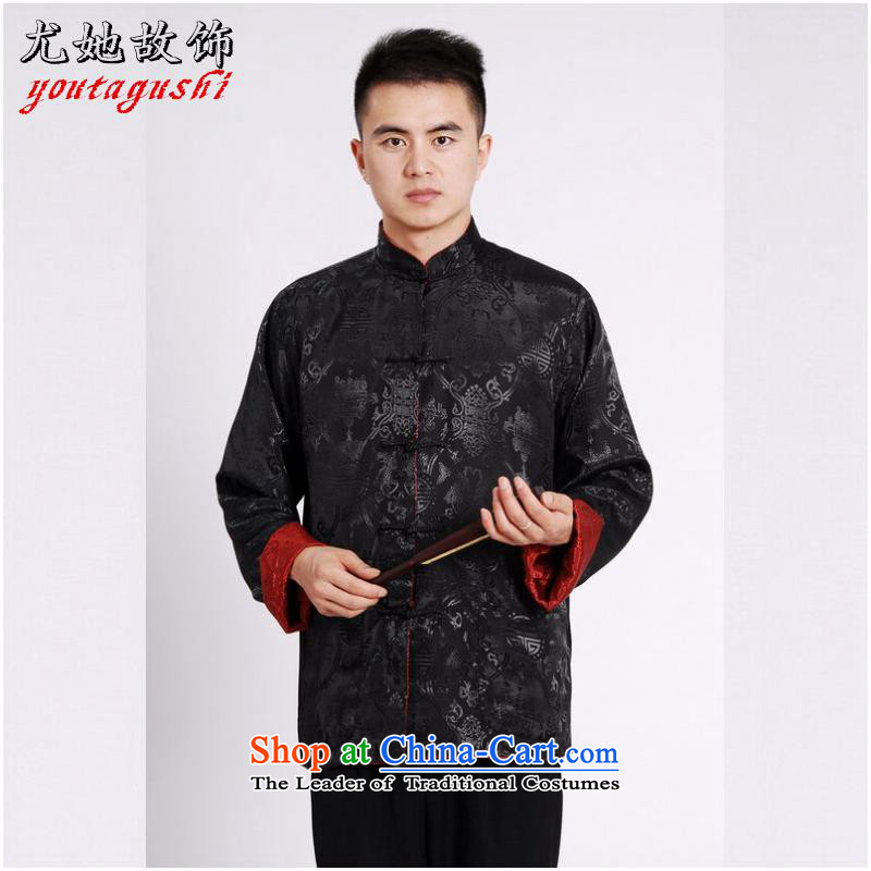 She was particularly Tang dynasty international men's long-sleeved national costumes men Tang jackets collar double-sided Wearing Tang Dynasty damask Black + Red燤
