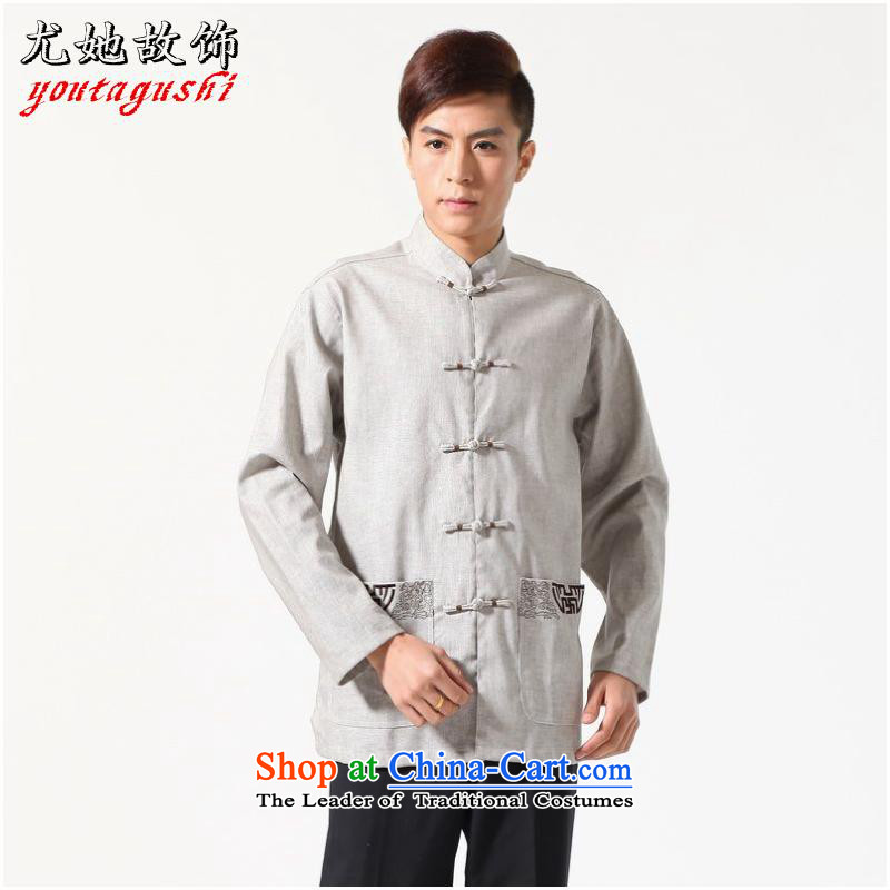 She was particularly international long-sleeved Tang Dynasty Chinese Improved large Chinese tunic of Men's Mock-Neck embroidered cotton linen Tang dynasty shirt?-A gray?XXL