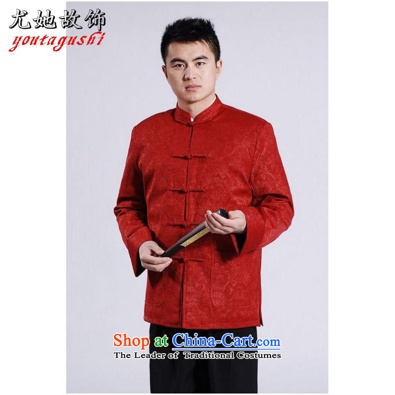 She was particularly international men's jackets thick cotton plus add-Tang Tang replacing men long-sleeved sweater Chinese Dragon Tang blouses red XXL