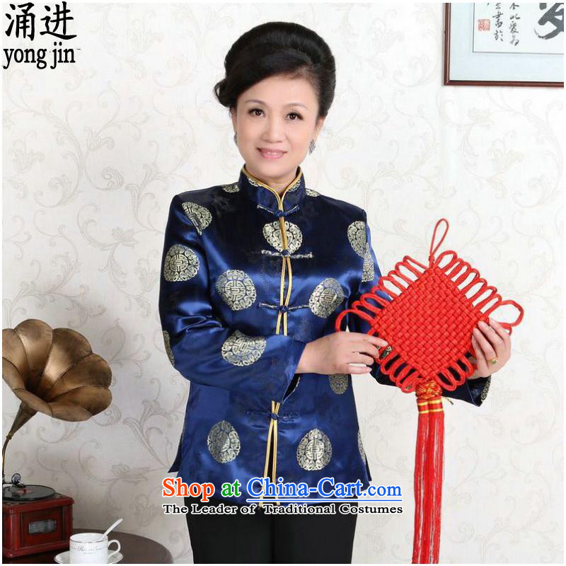 The elderly in the long-sleeved jacket Tang China wind classic wedding dresses made couples blue female?M