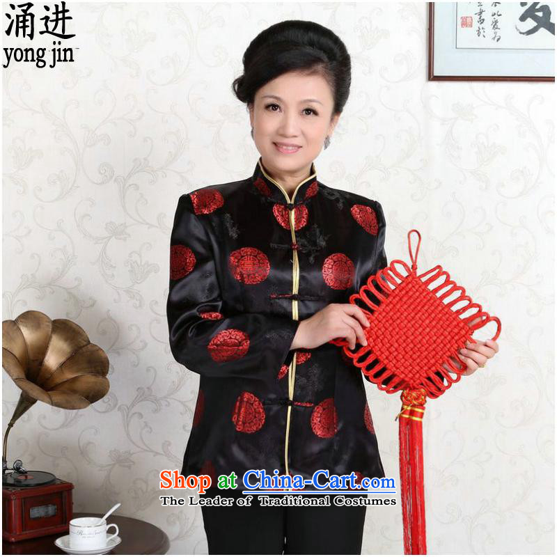 The elderly in the long-sleeved jacket Tang China wind classic wedding dresses made to replace the?black women for couples, -D?XXL