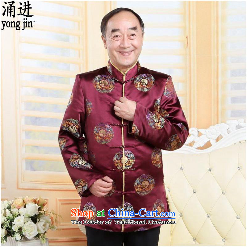 The outpouring of older men Tang jackets collar autumn and winter China wind birthday feast wedding-dress in red燲L