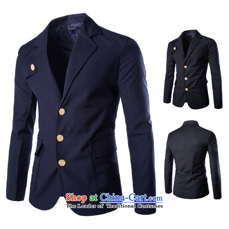 2015 Autumn and Winter, foreign trade payment small business suit Chinese tunic three slimming tablets single row detained solid color suit X819 black?M