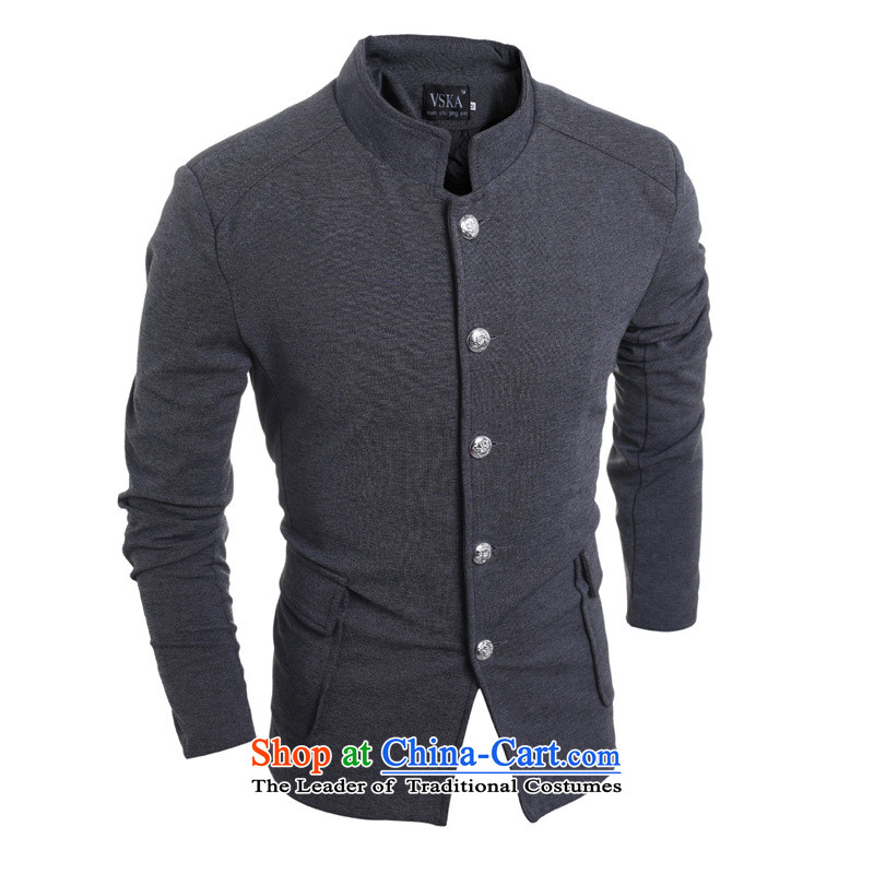 2015 Autumn and winter men new retro Chinese tunic single row detained after Chinese tunic suit pocket leisure?inspected 5,975?gray?XL