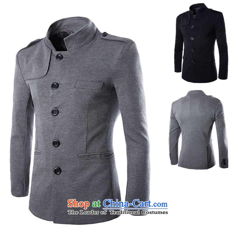 2015 New Year-round has a sense of collar leisure suit Chinese tunic Y015 cotton gray?(M)
