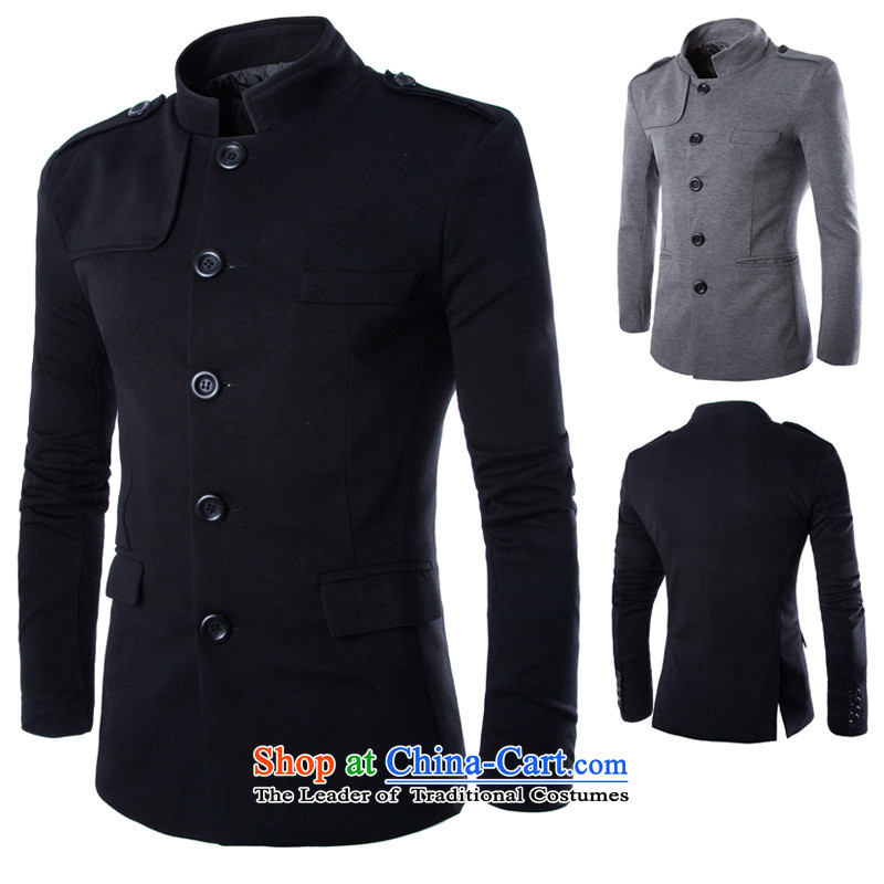 The new Ultra 2015 good-quality collar leisure suit male jacket Y015 Rome Chinese tunic gray?(M)