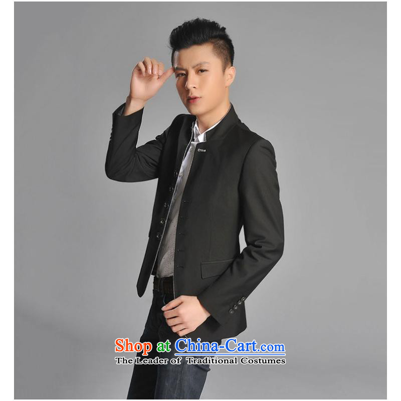 2015 new Mock-neck small suit Korean Chinese tunic business and leisure  Sau San, the Chinese Tang dynasty collar black�S