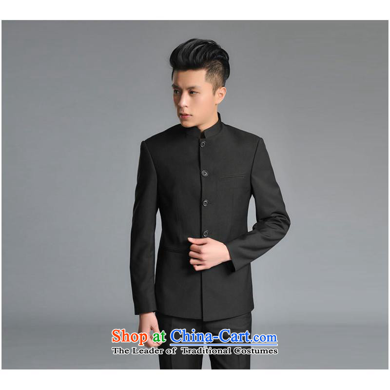 The new 2015 Men's Mock-Neck Chinese tunic Korean hands-free ironing for either the business or leisure Sau San Chinese collar Zhongshan Kit Black燤