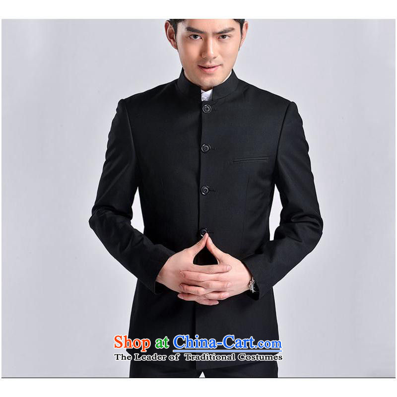 The new 2015 Men's Mock-Neck Chinese tunic Korea Chinese version of the Sau San national dress with black who the bridegroom black Tang pure color?XXL