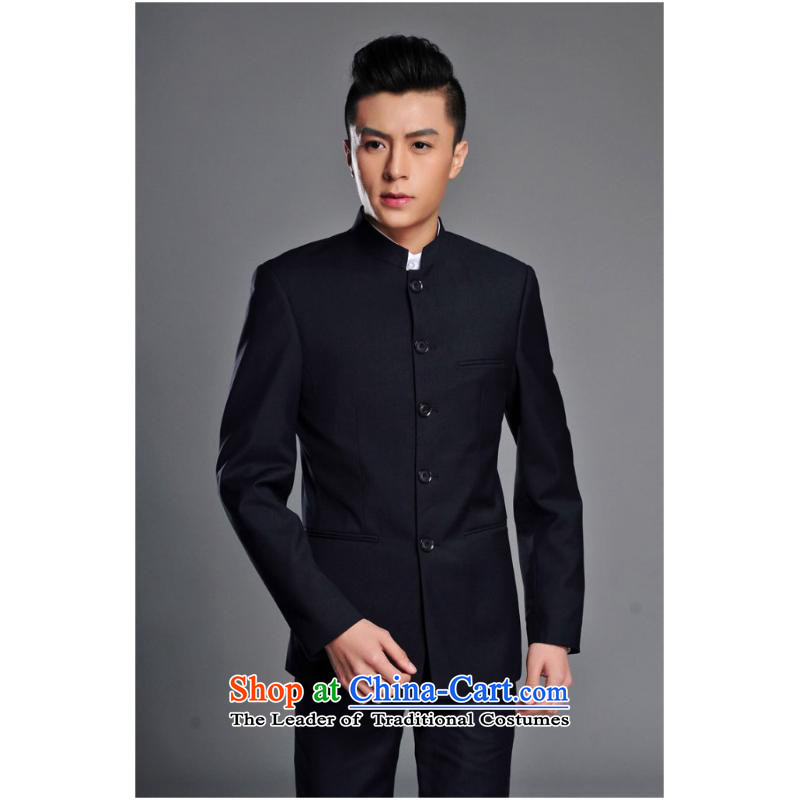 The trend of modern Chinese tunic Chinese Men's Mock-Neck Chinese tunic Korean Sau San-free ironing leisure, student and youth with navy�M