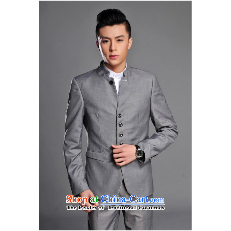 2015 New Chinese tunic Kit Men's Mock-Neck youth popular Korean black leisure suit groom Sau San installed new gray?M