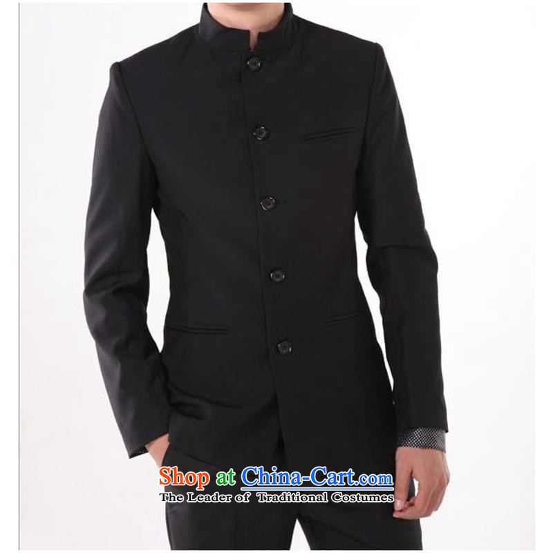 The new 2015 Men's Mock-Neck popular Korean Chinese tunic youthful beauty black collar casual jacket of the Chinese Navy?XXXL