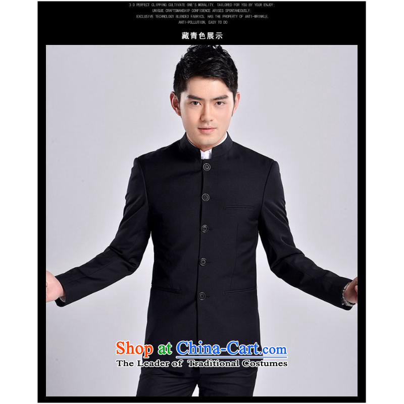 The new 2015 Men's Mock-Neck Chinese tunic male and Korean Chinese business and leisure black Sau San Mock-neck bridegroom replacing navy?XL