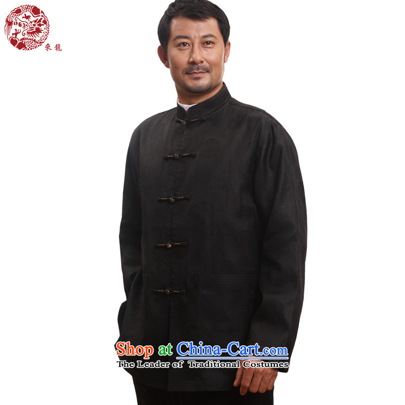 To Tang dynasty dragon autumn and winter, China wind men cloud of incense yarn silk jackets�13895�Black�46