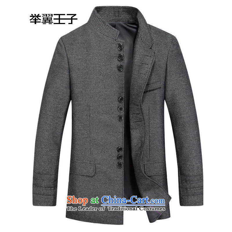 Move wing Prince Chinese tunic suit Mock-neck wool a suit for Sau San in long retro wool jacket?XXL/185 Gray