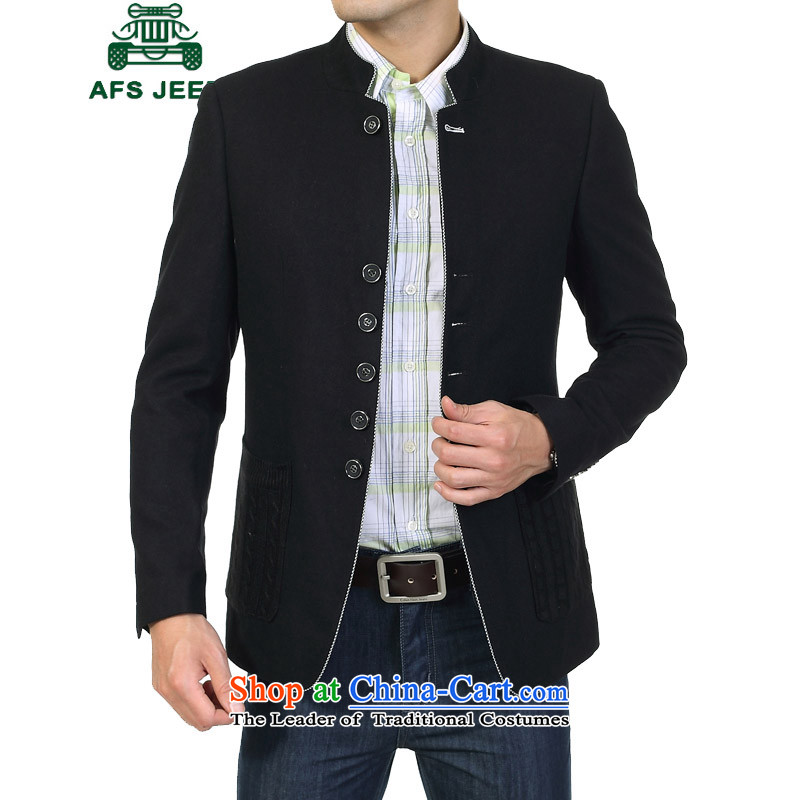 The field of Roma AFS JEEP Chinese tunic suit male wool? autumn new of leisure Chinese Antique collar jacket black?48?recommendations about 135