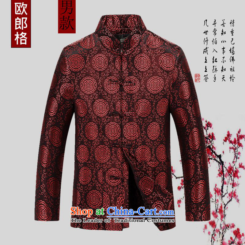 The elderly in the Tang dynasty, extra thick cotton coat 2015 couples new of Chinese Han-plus warm jacket coat lint-free China wind Tang dynasty birthday gift for life Services xl red men?XL/180