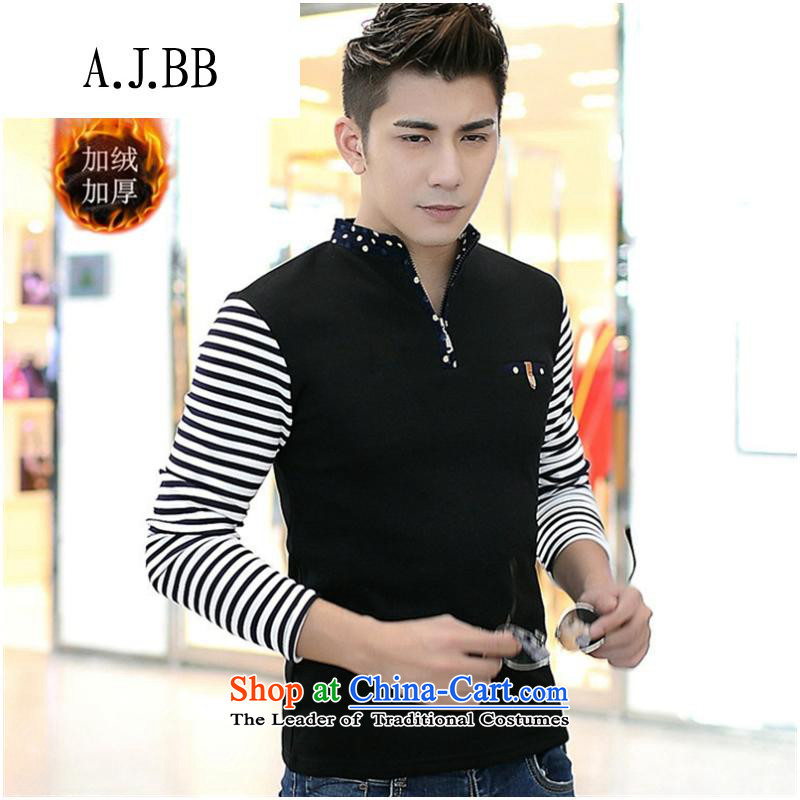 Secretary for autumn and winter clothing *2015 involving men in lint-free long-sleeved T-shirt youth zip leisure shirt men black?3XL