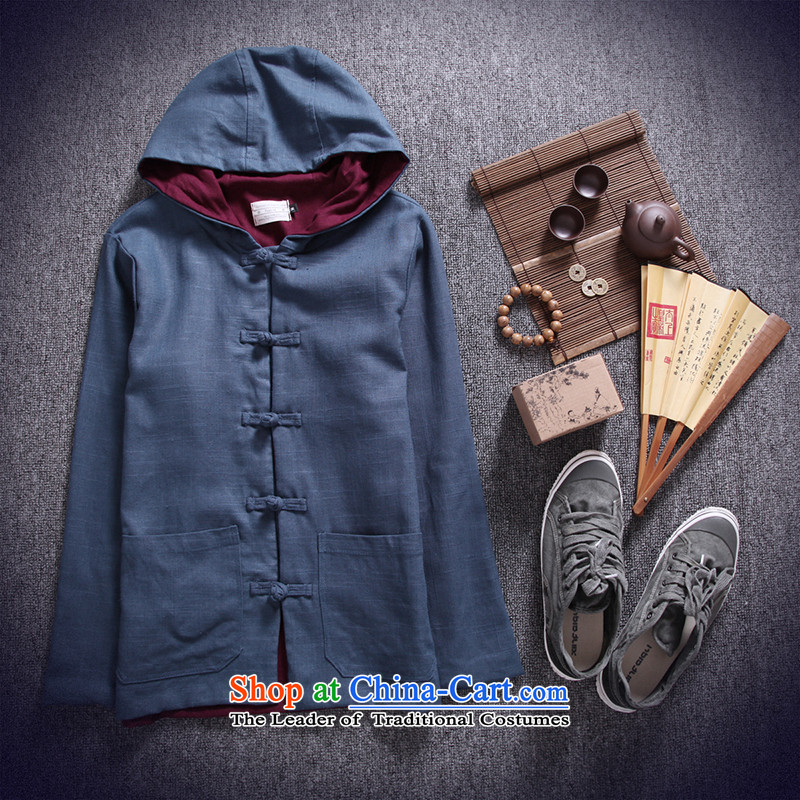 Dan Jie Shi 2015 autumn and winter coats of China wind cotton linen men Tang tray clip hoodie retro national wind jacket and linen Peacock Blue聽M