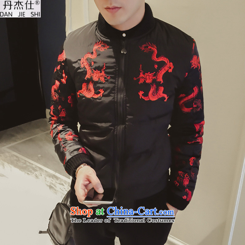 Dan Jie Shi 2015 winter new stylish warm coat China wind Ssangyong embroidery in older cold to warm jogging motion collar cotton coat jacket male black聽L