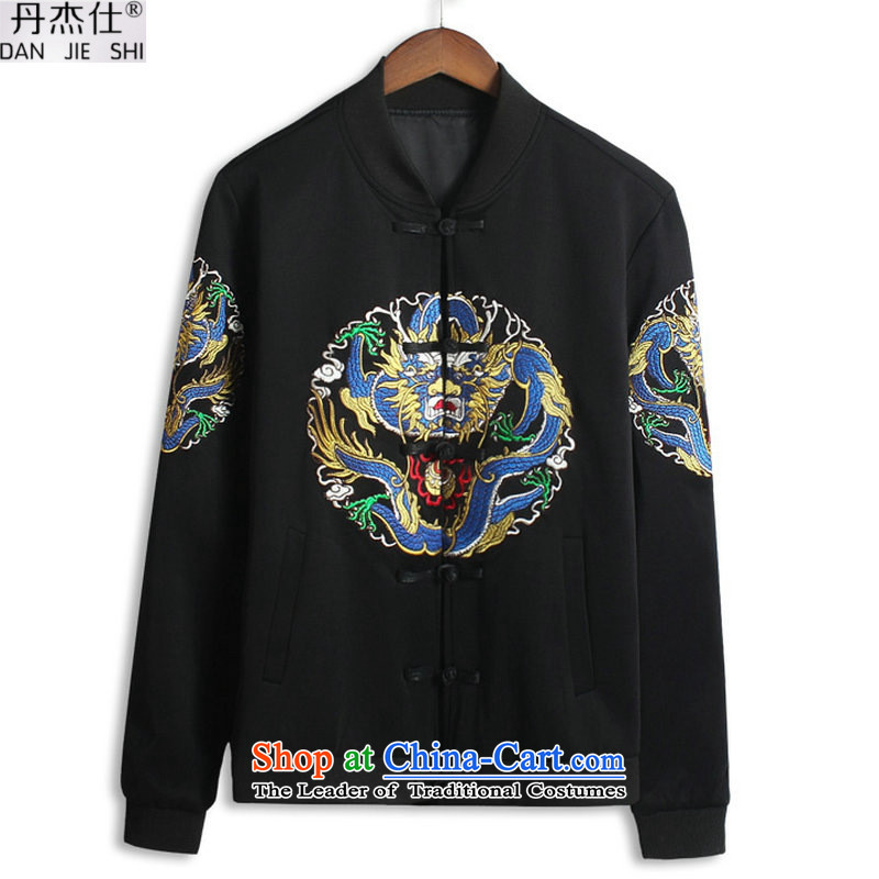 Dan Jie Shi 2015 winter leisure men of ethnic Chinese Wind embroidery Qing dynasty government fees to intensify the older jogging motion collar sweater jacket male black聽2XL
