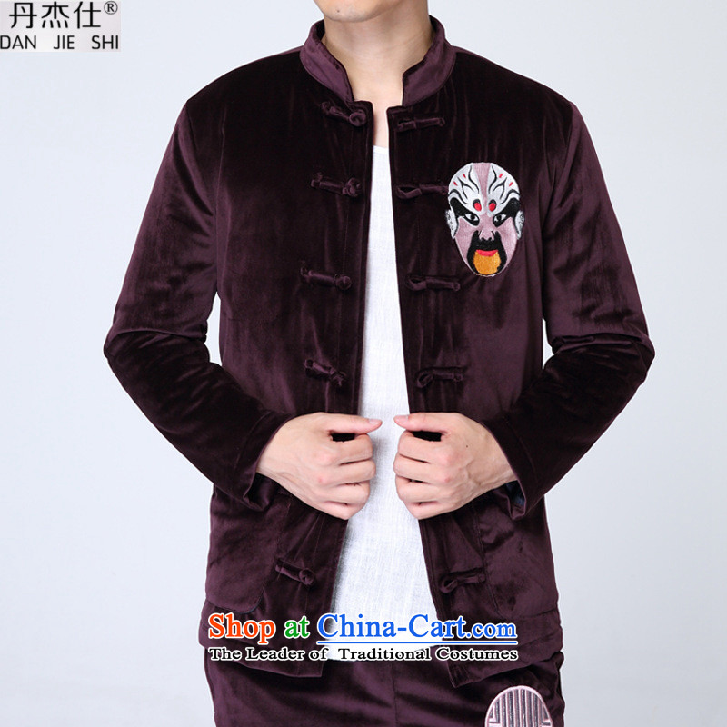 Dan Jie Shi 2015 autumn and winter New China wind retro men in older father replacing Mock-neck Kim scouring pads jogging tai chi warm coat cotton coat jacket and wine red T-shirt�L