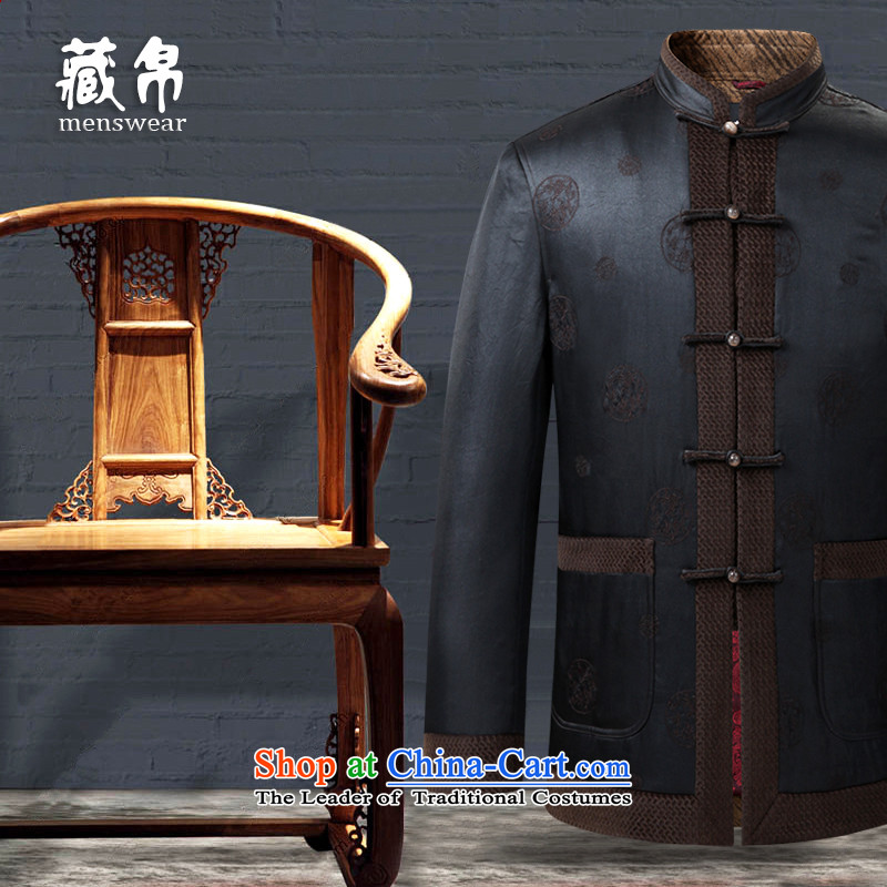 8D man in possession for autumn and winter silk cotton coat Tang dynasty jacket limited edition Heung-cloud yarn Banquet exclusive Ho Lai?12959 180/XL dark brown