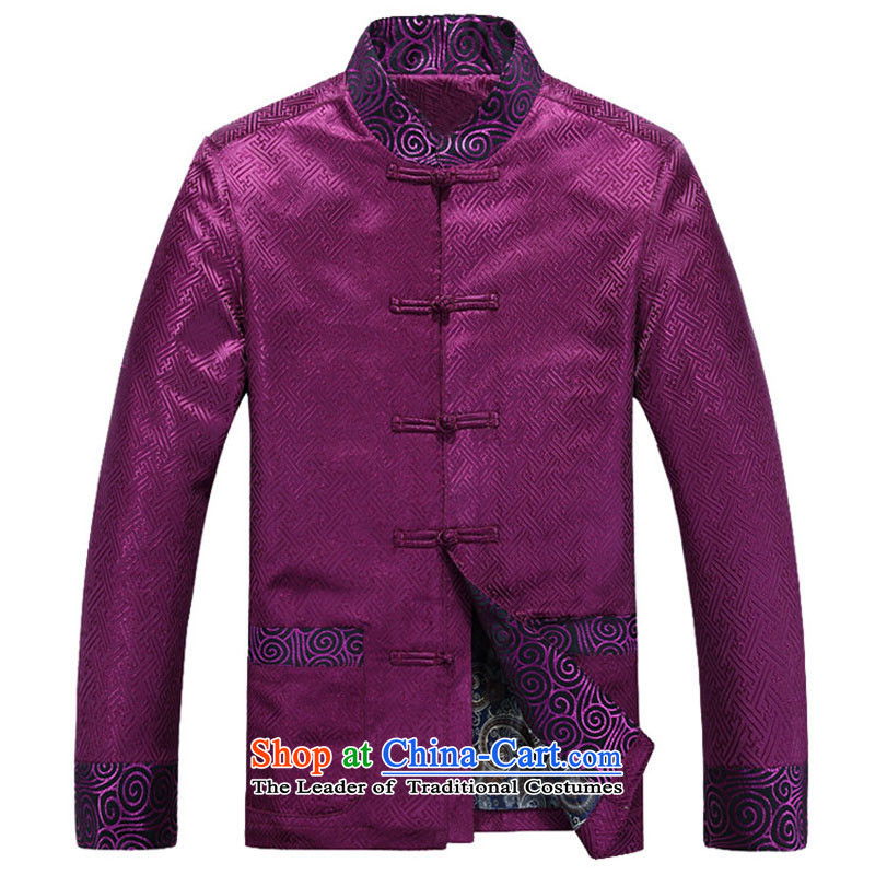 The autumn and winter men Tang jacket in older business and leisure embroidery China wind long-sleeved Thick purple聽, L, Putin Tang dynasty (JOE HOHAM covered by Ho) , , , shopping on the Internet